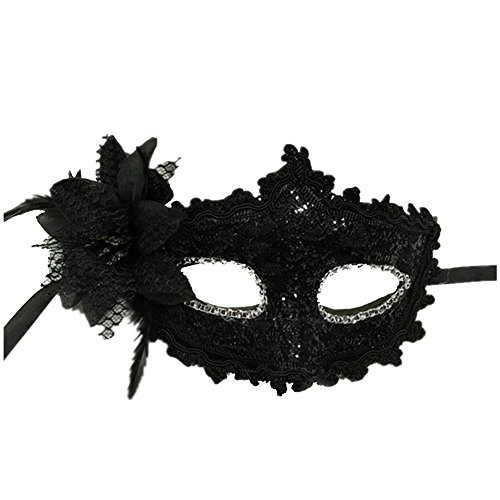 Haodou Venice Mask Masquerade Sequins Mask Punk Face Eyes Carnival Veil Halloween Cosplay Cover Headdress for Women Black