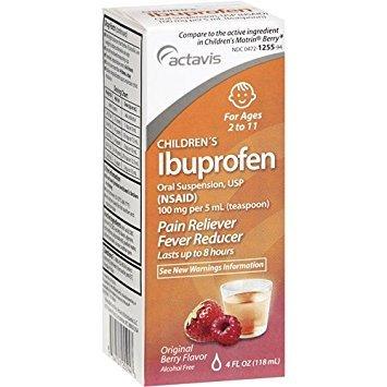 Actavis Children`s Ibuprofen Oral Suspension, 100mg/5mL, Berry, 4oz (3 Pack) ()
