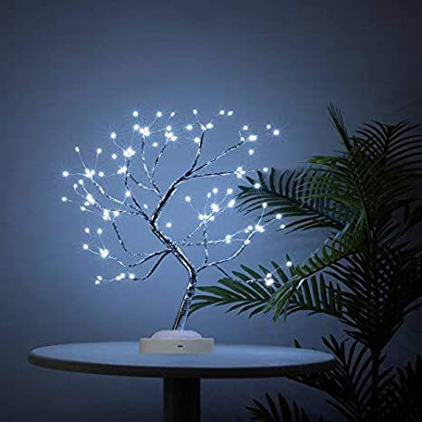 Amazon Com Bonsai Tree Light 108 Led Eight Function Tabletop Tree Light Copper Wire Tree Lights Battery Usb Operated Tree Lights For Indoor Decoration And Gift White Kitchen Dining