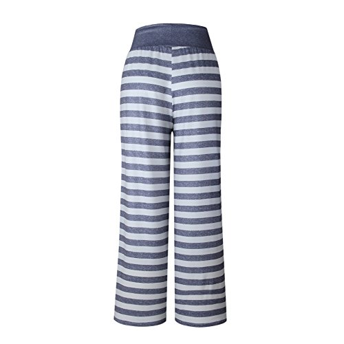2443890621 Famulily Women s Comfy Light Weight Loose Striped Palazzo Pj Lounge Pants(M