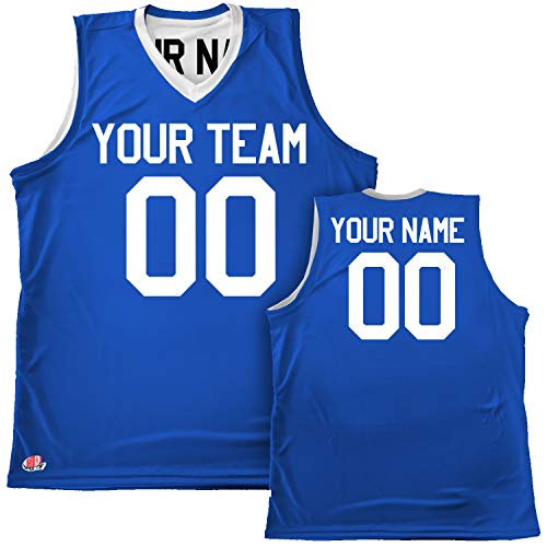 Silky Feel Reversible Custom Basketball Jersey Youth Medium Royal Blue & White