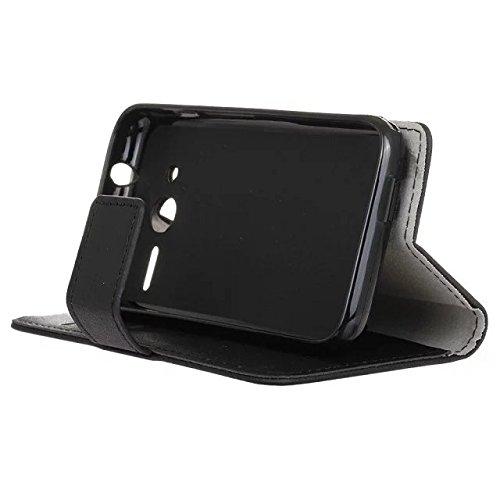 SRY-Bolsa para teléfono móvil Caja de cuero de la caja de la PU de la textura de Kasi del color sólido de la cubierta Caja de la carpeta de la caja del soporte del tirón con las ranuras del efectivo d Black