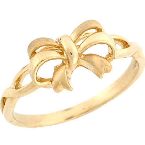 14k Yellow Gold Lovely High Polish and Satin Finish Bow Ring (Finish Satin High Polish)