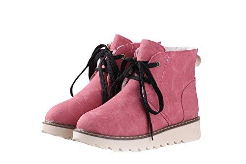 VogueZone009 Damen Rund Zehe Niedriger Absatz PU Leder Schnüren Stiefel, Pink, 43