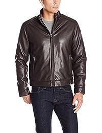 Men's Zip Front Faux Leather Moto Jacket