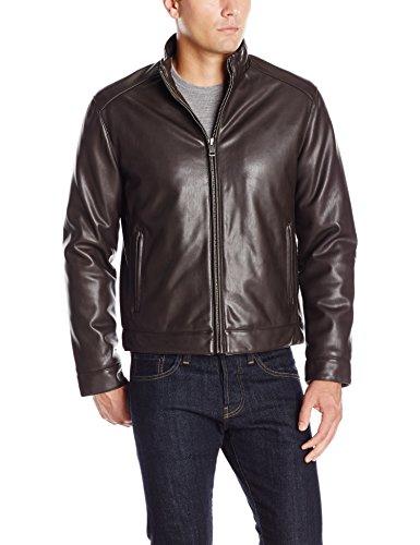 Cole Haan Signature Men's Zip Front Faux Leather Moto Jacket, Dark Brown, Medium (Cole Haan Medium Zip)