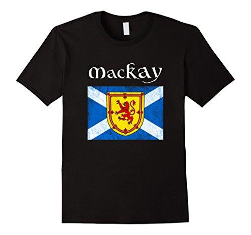 Mens MacKay Scottish Clan Name T Shirt Coat Arms Lion Flag XL Black