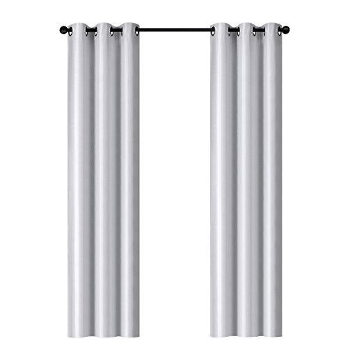 Home Queen Luxury Dupioni Faux Silk Thermal Insulated Grommet Top Blackout Curtain Drapes, 37''W x 84 L'' ,White Color, Set of 2