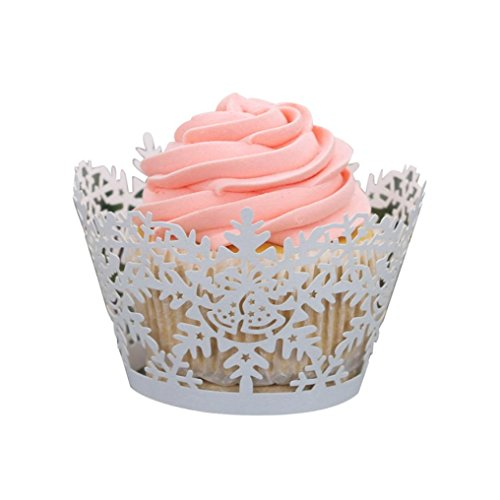 Staron Cupcake Wrappers 24pcs Snowflake Design Artistic Bake Cake Paper Cups Lace Cut Liner Baking Cup Muffin Case Trays for Christmas Party Decoration (White)