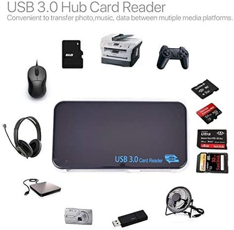 USB3.0 High Speed Compact Flash Adapter CF Micro SD TF Black HERCHR Multi Memory Card Reader