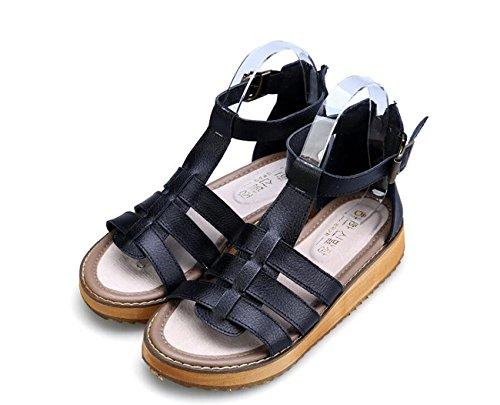 Noir Semelle 34 Sandales Grande Blanc Femmes Confortables Argent Été Étudiant Style Britannique Sandales 43 Pour Black Tendon DANDANJIE Anti slipChaussures vqT4xw6t