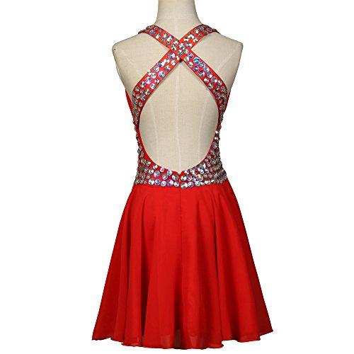 Aurora Pour Femmes De Mariée Robes De Bal Courte En Mousseline De Soie Rouge Robe Sexy Retour À La Maison