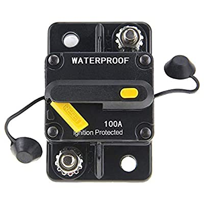 ANJOSHI 100Amp Circuit Breaker 50A-300A with Manual Reset Fuse Inverter for Car Audio, Stereo Switch and Solar Inverter System Protection 12V-36V DC Fuse Holder: Automotive