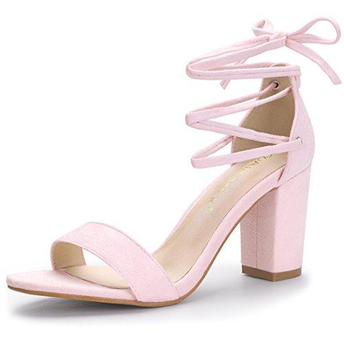 (Allegra K Women's Lace up Light Pink Sandals - 5.5 M)