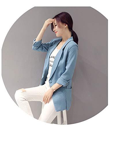 (Lady Blazer Jacket Business Suit Coat Women Casual Cotton Linen Slim Blazer,Blue Long Sleeve,L)