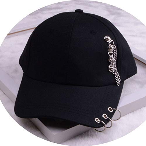 女性 リング野球帽 男性女性 白黒 野球の帽子,チェーンブラック