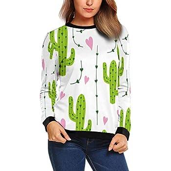 XS-XL INTERESTPRINT Womens Long Sleeve Sweatshirt Cute Foxes Heart Crew Neck Pullover