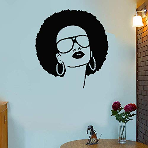 Wall Decal Sticker Art Mural Home Decor Quote Hot Black Hippie Girl with Sunglasses and Explosive Beauty Salon
