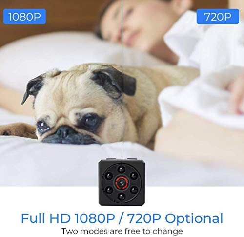 Mini Spy Camera Hidden Camera Full HD 1080P Portable Nanny Cam with Upgraded Motion Detection and Night Vision, Video Camera Wireless Micro Security Camera Support to 128GB SD Card (Not Included)