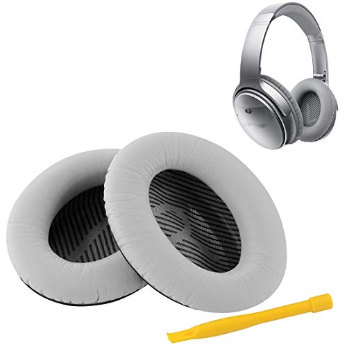 Geekria Replacement Ear Pads for Bose QC35 ii Headphones Bose QuietComfort 35 Ear Cushion/Ear Cups/Ear Cover/Repair Parts (Silver)