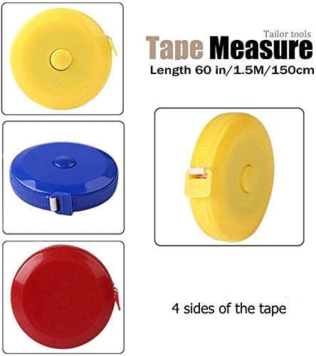 YXQSED Push Button Tape Body Measuring Soft Retractable for Sewing Double-Sided Tailor Cloth Ruler 60 Inch //150 cm-Blue-Yellow-Red
