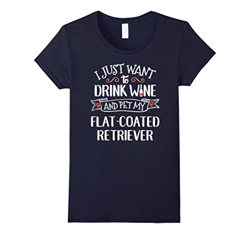 Coated Retriever (Womens Flat Coated Retriever T-Shirt for Wine Lovers & Dog Owners Large Navy)