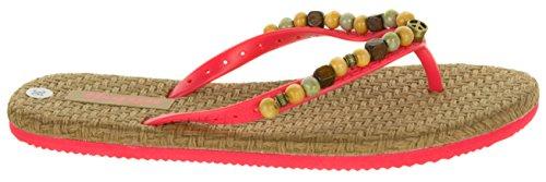 Beppi Damen Sommer-Sandalen Zehentrenner | Freizeit-Slipper Sandaletten Zehengreifer | Perlen Hippie Peace | Spago Komfort-Sohle | Größen 36-41 Rot