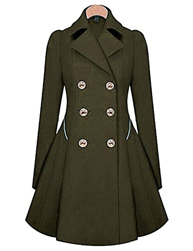 Tanming Women's Notch Lapel Double Breasted Mid Long Trench Coats (Army Green, Medium) -