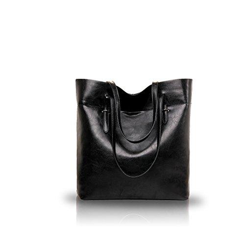 NICOLE&DORIS nuevos temperamento salvaje de gran capacidad de bolsos de cuero de las mujeres de moda de aceite de cerco(Black) Black