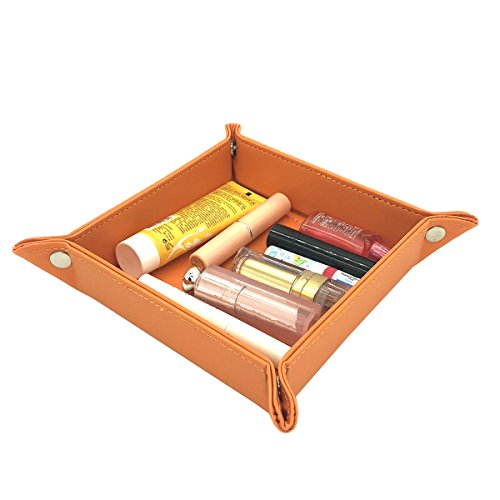 UnionBasic Fully PU Leather Jewelry Catchall Key Phone Coin Tray Change Caddy Bedside Storage Box - Box Bedside Storage