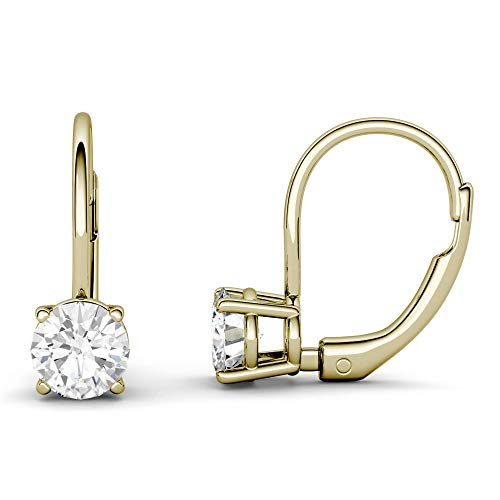 (14K Yellow Gold Moissanite by Charles & Colvard 5.0mm Leverback Earrings, 1.00cttw DEW)