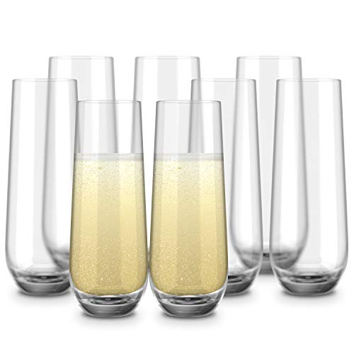 Stemless Champagne Flutes, by Kook, Durable Glass, Set of 8, 10.5oz, Mimosa Glasses Set, Cocktail Glass Set, Toasting…