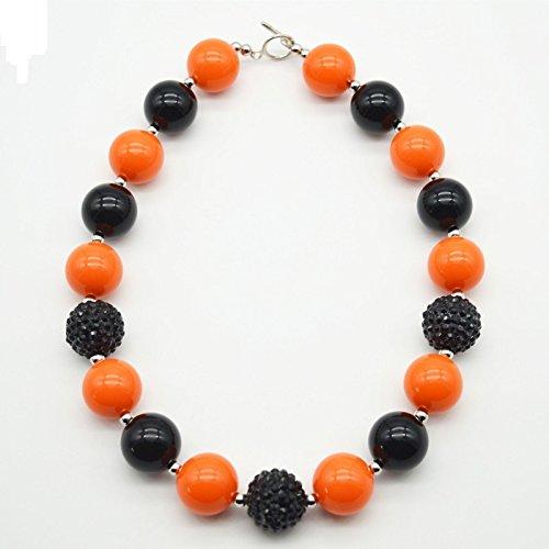 (Halloween Necklace-Orange and Black Chunky Necklace Halloween Party Bubblegum Necklace Cake Smash)