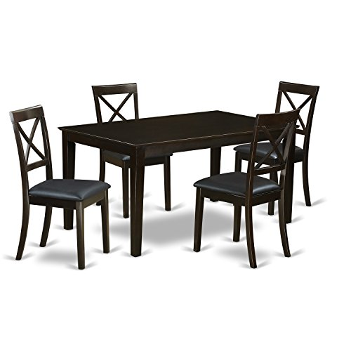 East West Furniture CABO5S-CAP-LC 5Piece Dining Table Set- Solid Top Dining Room Table & 4 Faux Leather Dining Chairs