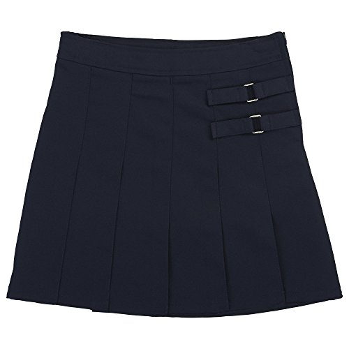 (French Toast Little Girls' Toddler Two-Tab Pleated Scooter, Navy, 4T)