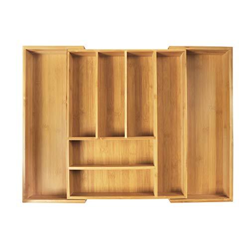 LASUAVY Kitchen Drawer Organizer, Bamboo Expandable Utensil and Cutlery Drawer Organizer Kitchen Cutlery Tray