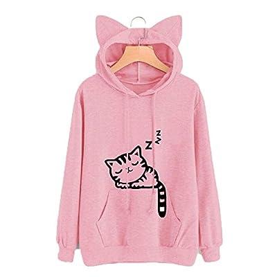 MMIRAG Fashion Ladies Girls I'm a Cat Letter Print Long Sleeve Kangaroo Pockets Hoodie Cute Cat Ear Pullover Sweatshirts