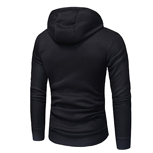 Drawstring Cotton Blend CHshe Hooded XXXL Blouses Pullover Pocket M Black Zipper Winter Essential Men qprwInzxtp