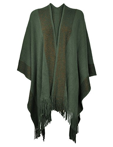 ZLYC Women's Shawl Golden Trim Knit Blanket Wrap Fringe Poncho Coat Cardigan (Army Green)