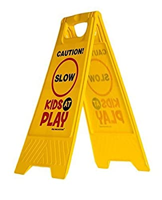 Essentially Yours Kids Playing Safety Floor Sign for Yards and Driveways (Double-Sided, Red) - Caution, Slow, Kids at Play