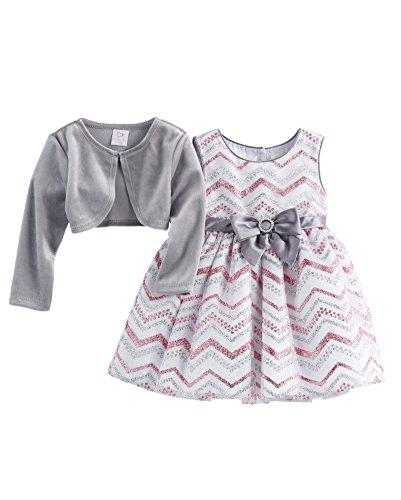 Youngland Baby Girls Glittery Chevron Dress & Velvet Shrug Set, Silver (24 Months) -