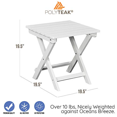 PolyTEAK Folding Outdoor Side Table, Powder White Weather Resistant, Patio Side Table Made from Special Formulated Poly Lumber Plastic Product Weight 15 lb, Fully Assembled