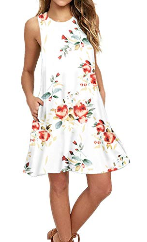 AUSELILY Summer Floral Print Dresses for Women,Swing Sundresses for Women Casual Dress with Pockets (2XL, Rose - Tunic Pocket Tank