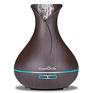 Crush on Life 550ml Essential Oil Diffuser,Wood Grain Ultrasonic Home Fragrance Aroma Air Diffuser Humidifier for Bedroom Kids Baby Office Spa Aromatherapy,7 Colors LED Mood Light,Large Mist,Gift Set