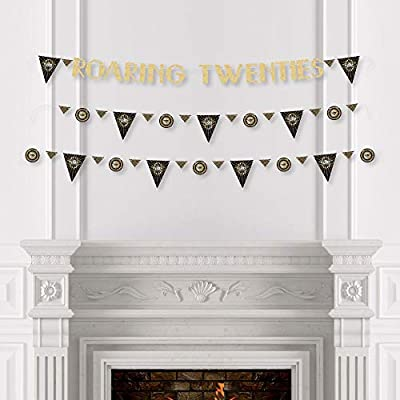 Roaring 20's - 1920s Art Deco Jazz Party Letter Banner Decoration - 36 Banner Cutouts and No-Mess Real Gold Glitter Roaring Twenties Banner Letters - 2020 Graduation and Prom Party: Toys & Games
