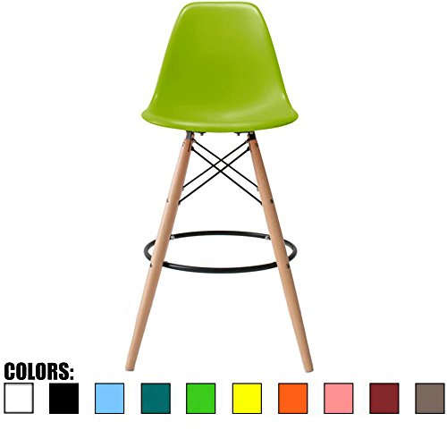 2xhome BarRay(Green) Eames Style Modern Mid Century Armless with Back Bar Stool Height Counter Chair with Natural Wood Legs 28