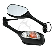 Tengchang Pair of Motorcycle Amber Turn Signal Light Black Rear View Mirrors for Suzuki GSXR1000 GSXR 1000 05-08,GSXR600 GSXR750 2006 07 08 09 2010