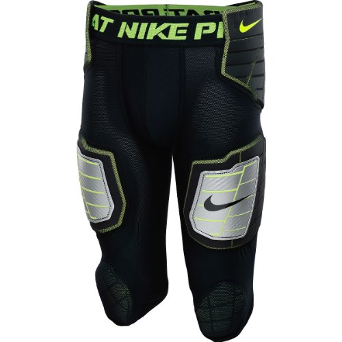 Nike Men's Hyperstrong Compression Hard Plate Football Pant Black/Volt Size Medium by Nike (Image #1)