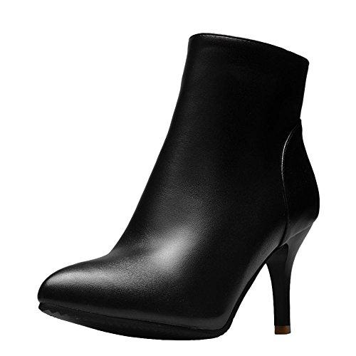 Carolbar Femmes Zip Pointu Toe Rétro Mode Automne Stilettos Bottes Noir