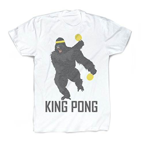 Price comparison product image King Pong Vintage T-Shirt | Ping Pong Tees by ChalkTalk SPORTS | White | Youth Large